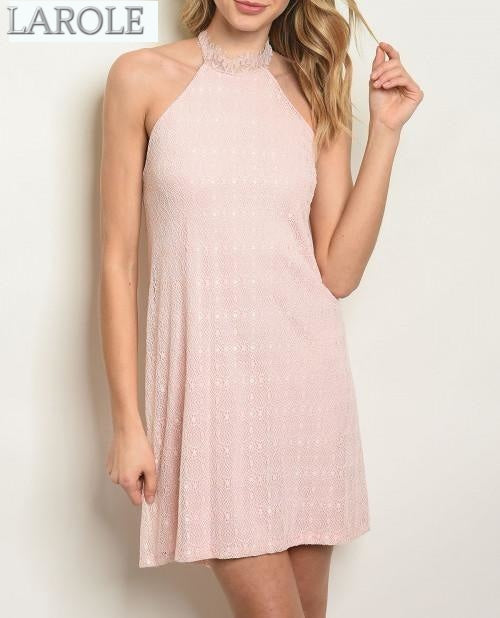 light pink short lace dress with high neck from larole.com
