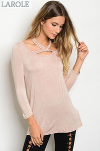 LAROLE | DUSTY PINK CHOKER TOP WITH LONG SLEEVES
