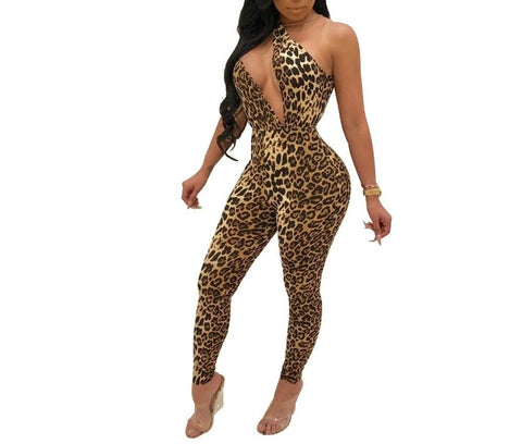 Leopard Print One Shoulder  Cut Out Jumpsuit