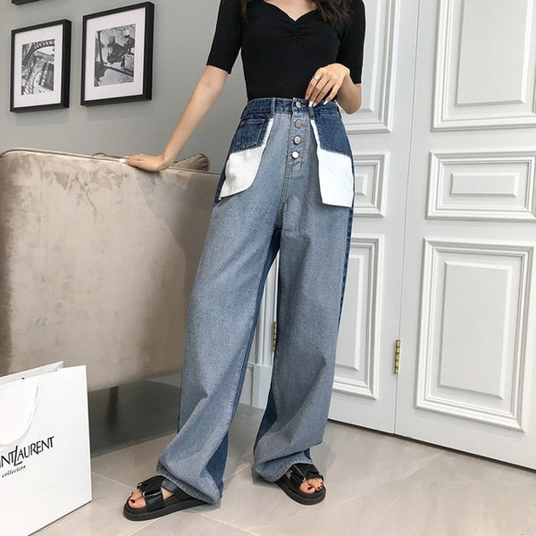 Letter Pockets High Waist Patchwork Loose  Boyfriend Jeans