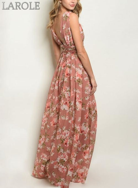 LAROLE - ROMANTIC MAUVE PINK FLOWY FLORAL MAXI DRESS