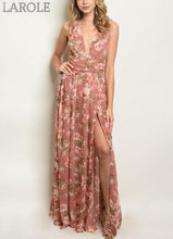 Load image into Gallery viewer, LAROLE - ROMANTIC MAUVE PINK FLOWY FLORAL MAXI DRESS