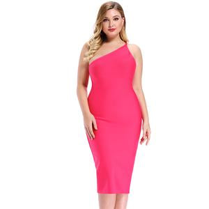 One Shoulder  Rose Party Plus Size Bodycon Dress