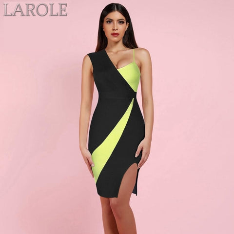 One Shoulder Sleeveless Slit Evening Bandage Dress