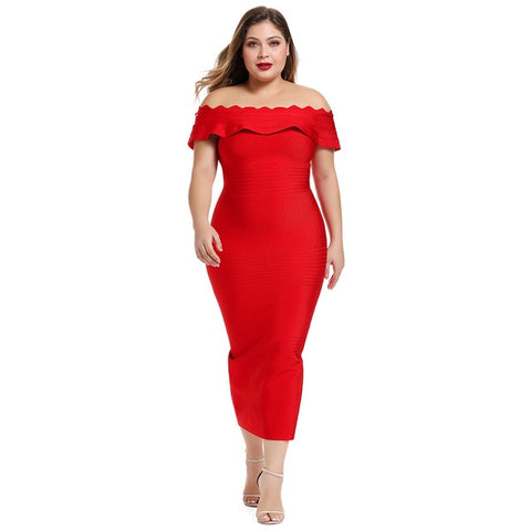 Off Shoulder Plus Size Midi Elegant Red Bandage Dress