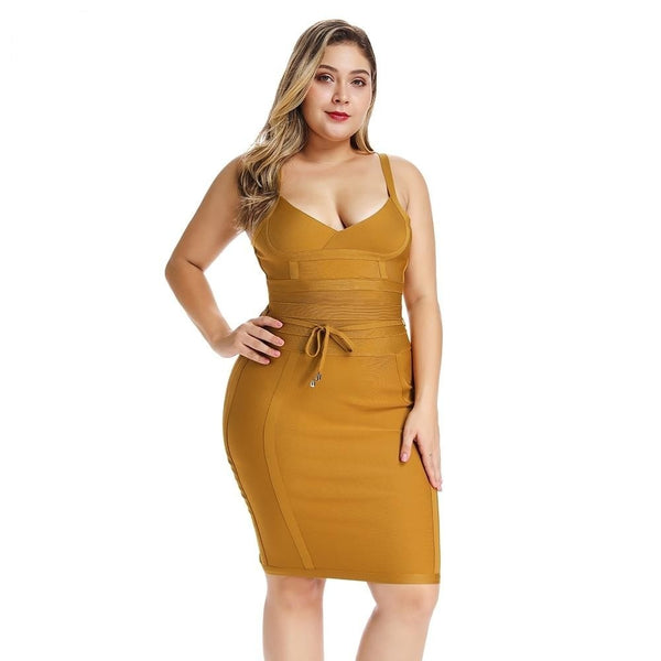 Plus Size Elegant Yellow Bandage Dress