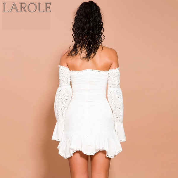Lace Off Shoulder Lantern Long Sleeve Mini White  Dress