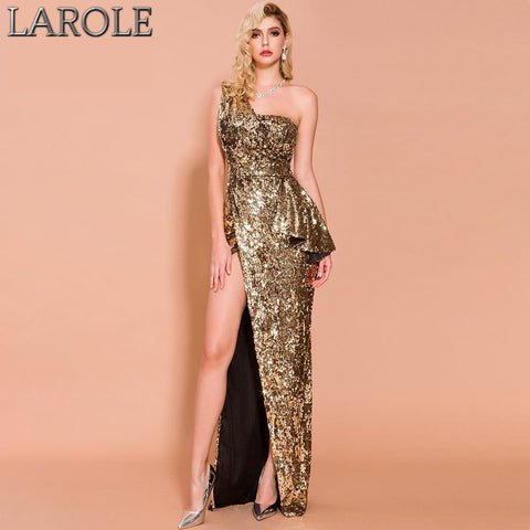Gold One Shoulder High Split Backless Evening Sequin Maxi Dress