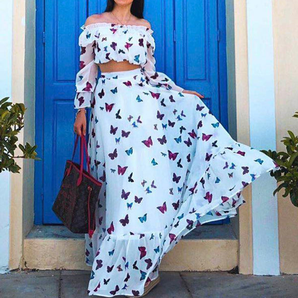 Off Shoulder Butterfly Print Two Pieces Maxi Skirt & Crop Top Set