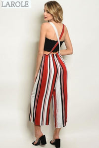 LAROLE | CHIC OFF RED AND WHITE STRIPES OVERALL WITH CRISS CROSS BACK PAIRED WITH BLACK CROP TOP