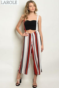 LAROLE | CHIC OFF RED AND WHITE STRIPES OVERALL WITH CRISS CROSS BACK