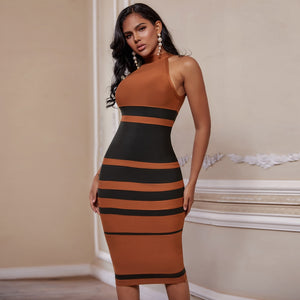 Brown and Black Striped Bandage Dress