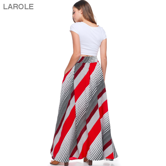 Larole | Printed Box Pleats Maxi Skirt