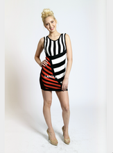 Load image into Gallery viewer, Black , White  and red Stripes Bandage Dress, Clubwear Dresses | Nightclub Dresses | Strappy Dresses | Larole