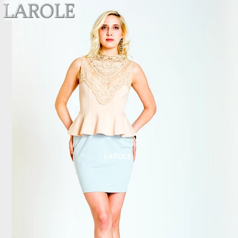 LAROLE| BEIGE CUTOUT BACK COLOR BLOCK DRESS