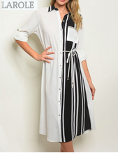 Load image into Gallery viewer, LAROLE| LONG SLEEVES BLACK WHITE SHIRT MIDI  DRESS