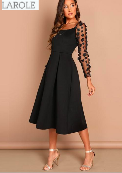 Night Out Black Contrast Mesh Appliques Pleated Square Neck Knee Length Dress