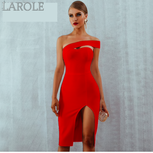 Summer Sexy Elegant  One Shoulder Red Midi Celebrity Party Dresses - More Colors Are Available