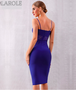 Lace Hollow Out Spaghetti Strap Cocktail Party Little Blue Dress - More Colors Are Available