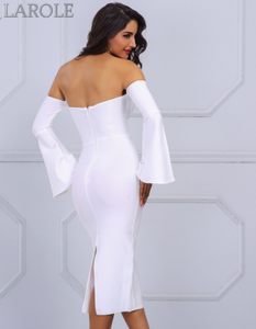 Off The Shoulder Flare Sleeve White Midi Dress - More Colors Are Available