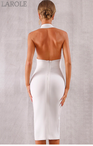 Black Sexy Halter V Neck Backless bodycon Evening Party Dress - More Colors are available
