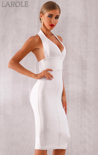 Sky Blue Sexy Halter V Neck Backless bodycon Evening Party Dress - More Colors are available