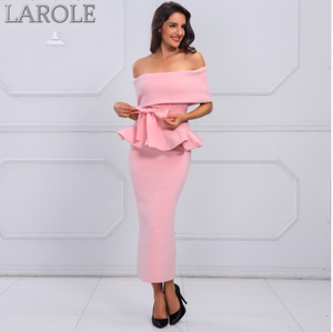 Bow & Ruffles Ankle Length Celebrity Evening Light Pink Midi Dress -More Colors Available