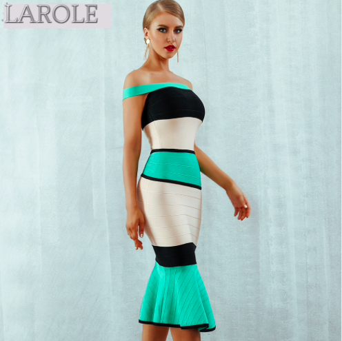 Sleeveless Colorblock  Off the Shoulder Celebrity Evening Midi Dresses