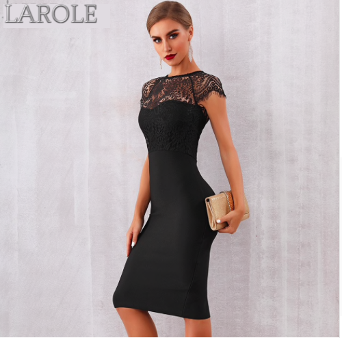 Elegant Midi Bodycon Little Black Dress  - Available in Black & White