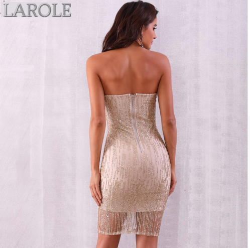 Sexy Gold Sequined Strapless Club Midi Runway Celebrity Party Dresses