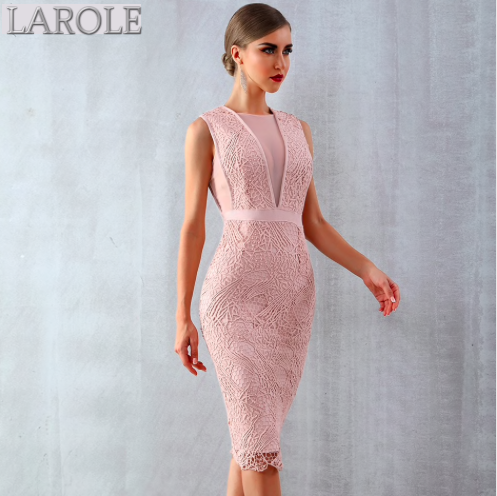 Très Chic Light Pink Lace Mesh Sleeveless Bodycon Midi Cocktail dress