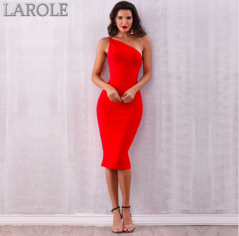 Hot Red One Shoulder Backless Midi Cocktail Dress