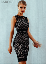 Load image into Gallery viewer, Elegant Black Lace Hollow Out Sexy Bodycon Women Dress