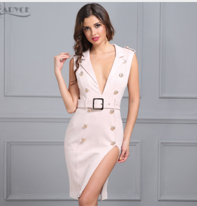 Bodycon Knee Length Dresses with Button Studded and Deep V Neck design