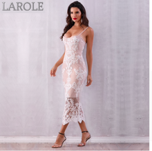 Load image into Gallery viewer, Elegant Spaghetti Strap Nude Lace Bodycon Maxi Dress