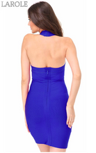 Load image into Gallery viewer, Hang Neck Mesh Club Backless Bandage Dress- Available in Red and Blue