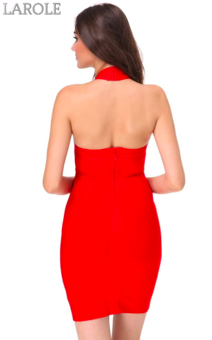 Hang Neck Mesh Club Backless Bandage Dress- Available in Red and Blue