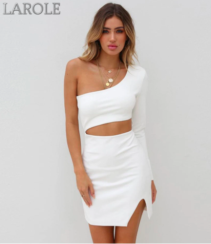 White One Shoulder Celebrity Evening Party Dress - Available in multiple colors
