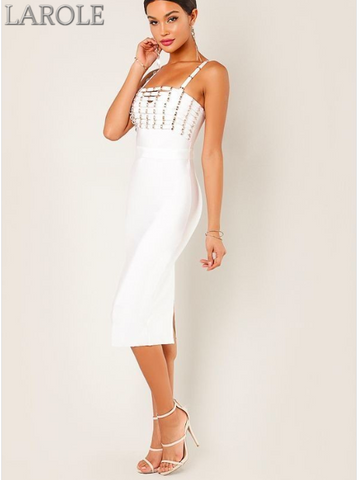Wow Couture Stud Embellished Spaghetti Strap White Bandage  Midi Dress