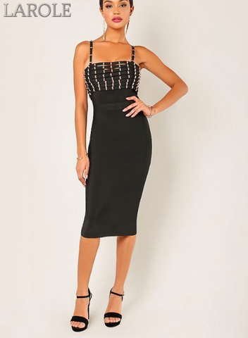 Wow Couture Stud Embellished Spaghetti Strap Black Bandage Midi Dress