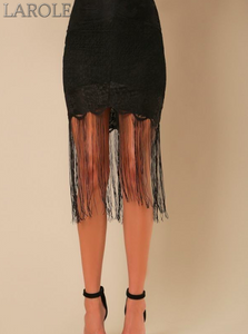 High Waisted Lace Fringed Skirt