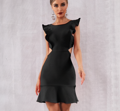 Sexy Black Ruffles Mini Club Party Dress - More Colors Are Available