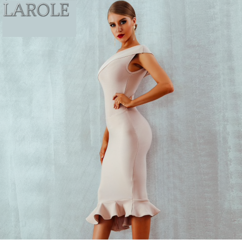 One Shoulder Sleeveless Ruffles White Midi Evening Party Bandage Dress - More Colors Available