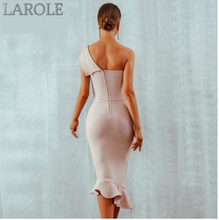 Load image into Gallery viewer, One Shoulder Sleeveless Ruffles White Midi Evening Party Bandage Dress - More Colors Available
