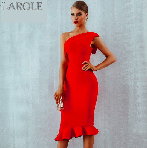 One Shoulder Sleeveless Ruffles Red Midi Evening Party Bandage Dress - More Colors Available