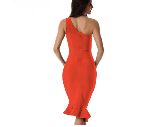 New One Shoulder Red Black Club Dress Evening Party Midi Bandage Dresses