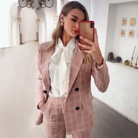 Long Sleeve Double Breasted Two-Piece Suit Pants Suit