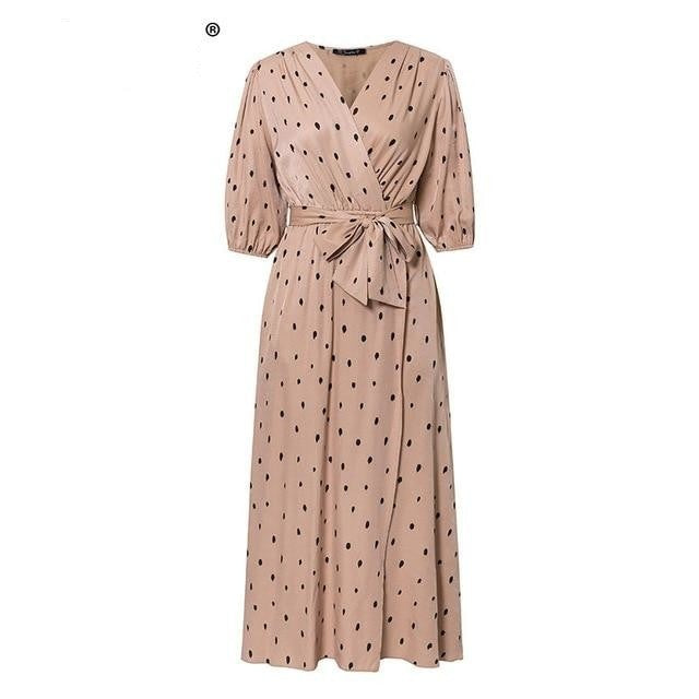 Polka dot puff sleeve a line v neck sash wrap  retro maxi dress