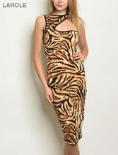 Load image into Gallery viewer, LAROLE | LEOPARD ANIMAL PRINT MIDI BODYCON DRESS