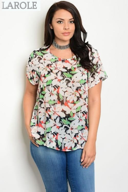 LAROLE | WHITE GREEN RED PLUS SIZE FLORAL TUNIC TOP